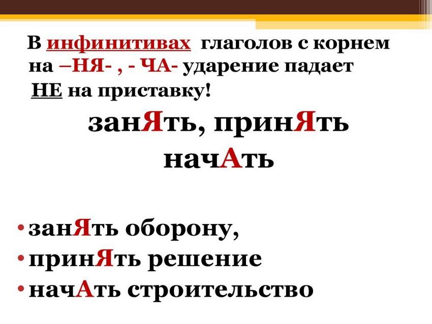 """Правило постановки ударения в слове """"начать"""""""