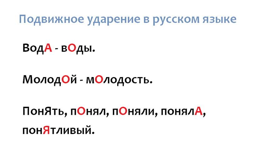 Подвижное ударение в русском языке