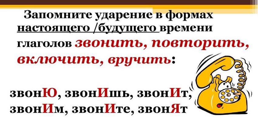"""Правильные формы слова """"звонит"""""""