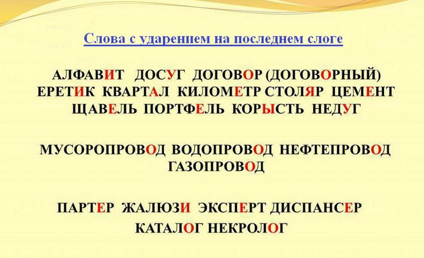 Слова в руском языке с ударением на последнем слоге