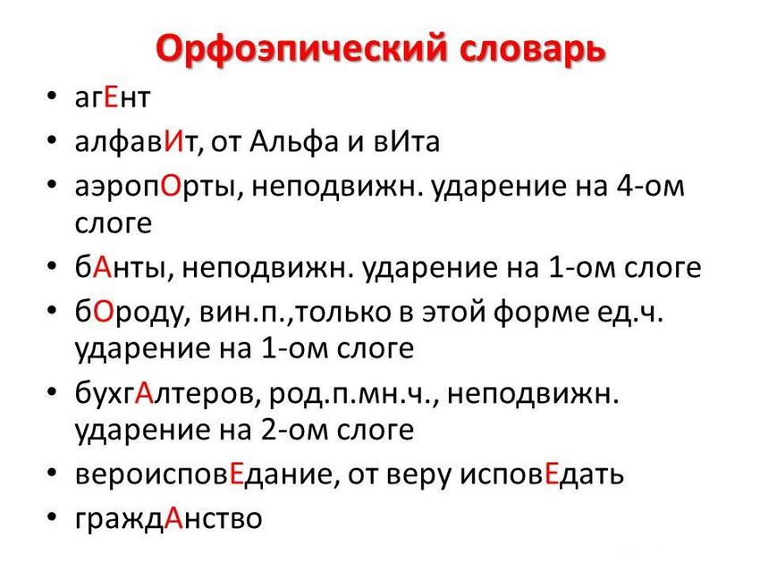 орфоэпический словарь - сложные случаи постановки ударения