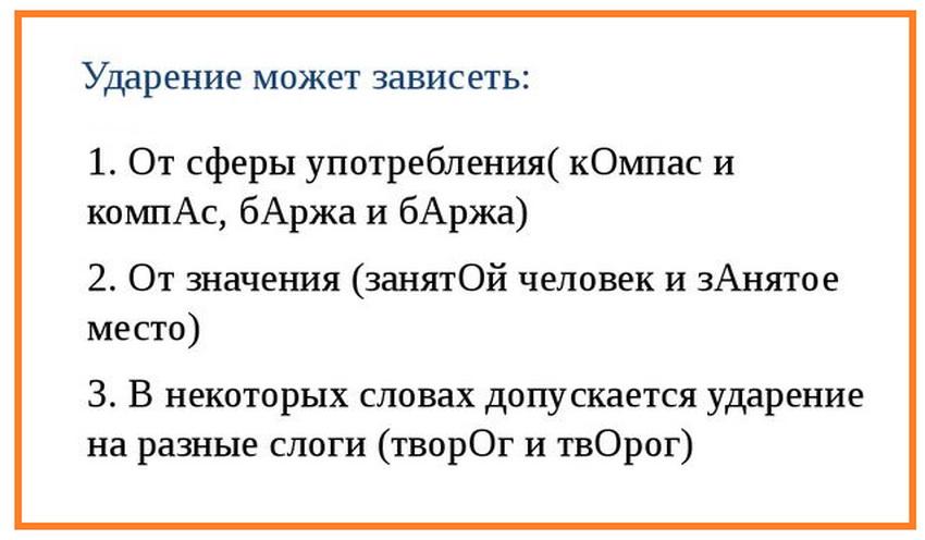 от чего зависит ударение в русском языке