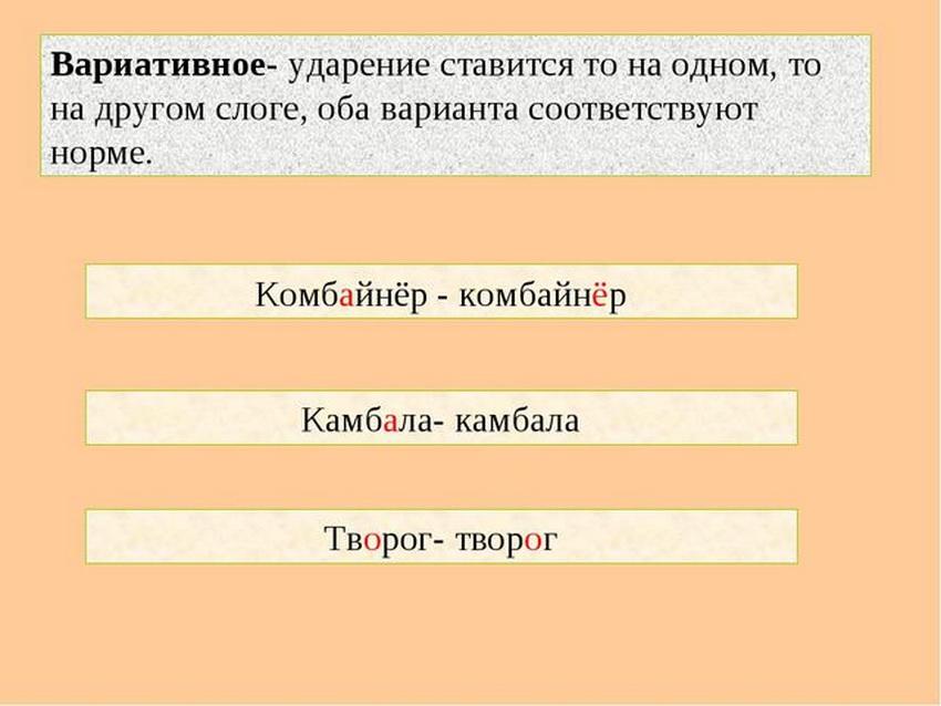 вариативное ударение в русском языке
